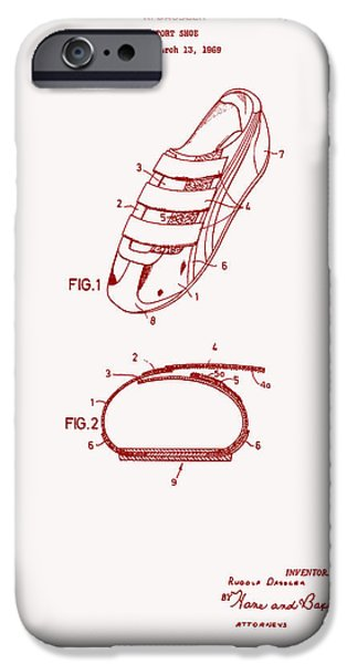 Tennis Shoes iPhone Cases - Sport Shoe Patent 1971 iPhone Case by Mountain Dreams