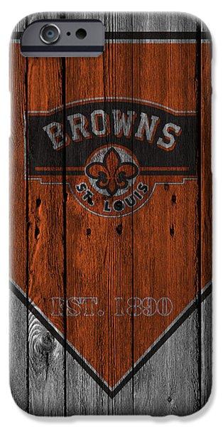 Baseball Glove iPhone Cases - St Louis Browns iPhone Case by Joe Hamilton