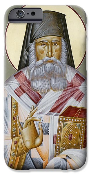 St Nektarios Icon iPhone Cases - St Nektarios of Aegina iPhone Case by Julia Bridget Hayes