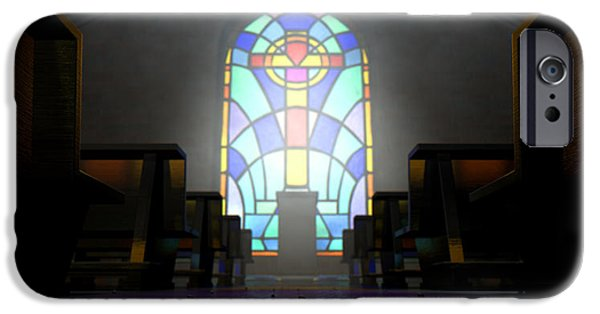Stained Glass Windows iPhone Cases - Stained Glass Window Church iPhone Case by Allan Swart