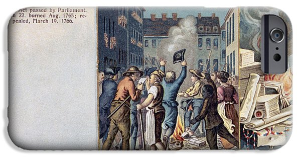 Patriots iPhone Cases - Stamp Act Riot, 1765 iPhone Case by Granger