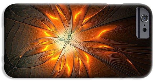 Floral Digital Art Digital Art iPhone Cases - Starburst iPhone Case by Amanda Moore