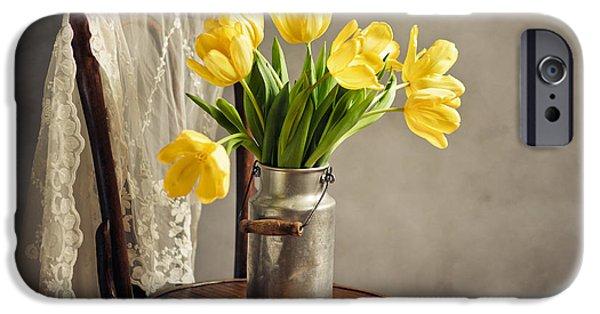 Veiled iPhone Cases - Still Life with Yellow Tulips iPhone Case by Nailia Schwarz