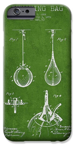 Punch Digital iPhone Cases - Striking Bag Patent Drawing from1891 iPhone Case by Aged Pixel