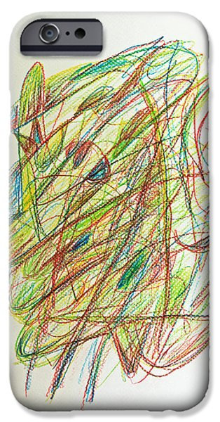 Thought Drawings iPhone Cases - Subconscious Thought No. 1 iPhone Case by Augusta Stylianou