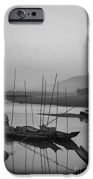Monochrome iPhone Cases - sunset at Mae Khong river iPhone Case by Setsiri Silapasuwanchai