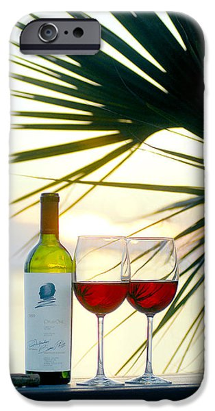 Wine Bottles iPhone Cases - Sunset  for Two iPhone Case by Jon Neidert