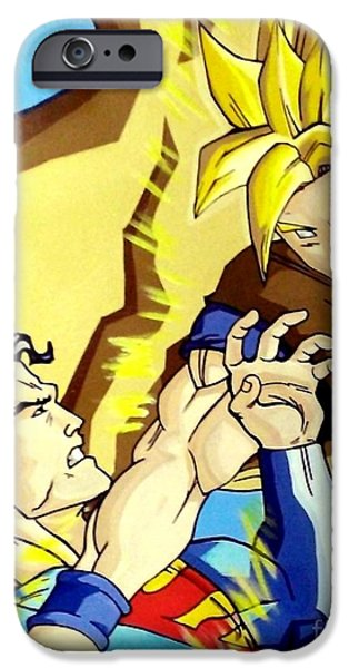 Lex Luthor iPhone Cases - Super Man Vs Goku iPhone Case by Jin Kai