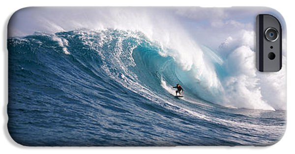Power iPhone Cases - Surfer In The Sea, Maui, Hawaii, Usa iPhone Case by Panoramic Images