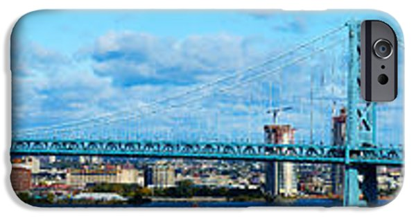 Ben Franklin iPhone Cases - Suspension Bridge Across A River, Ben iPhone Case by Panoramic Images