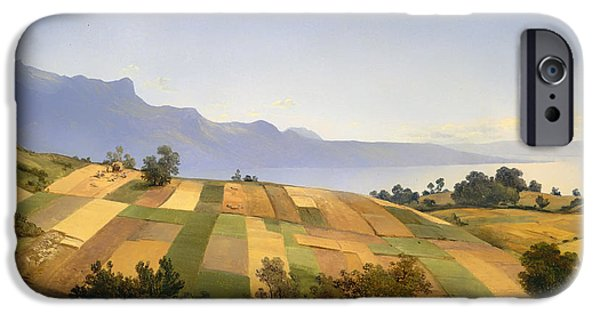 Switzerland Paintings iPhone Cases - Swiss Landscape iPhone Case by Alexandre Calame