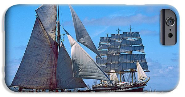 Tall Ship iPhone Cases - Tall Ship Regatta In The Baie De iPhone Case by Panoramic Images