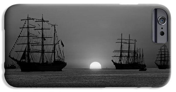 Tall Ship iPhone Cases - Tall Ships at Sunset iPhone Case by Mountain Dreams