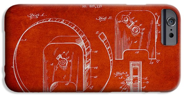 Ruler iPhone Cases - Tape measure Patent Drawing from 1906 iPhone Case by Aged Pixel