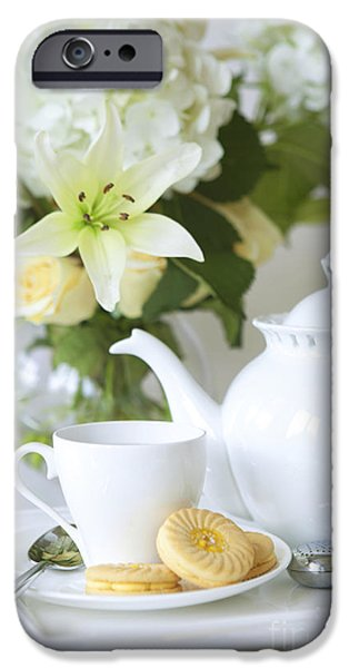 Tea Cup iPhone Cases - Tea and Cookies iPhone Case by Diane Diederich