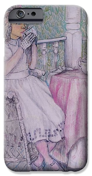 Tea Party Drawings iPhone Cases - Tea Time for Alexis iPhone Case by Linda Simon