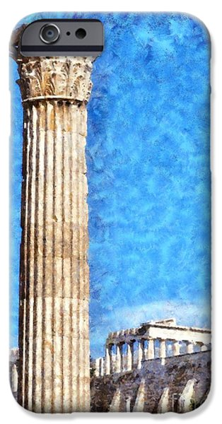 Zeus iPhone Cases - Temple of Olympian Zeus and Acropolis iPhone Case by George Atsametakis