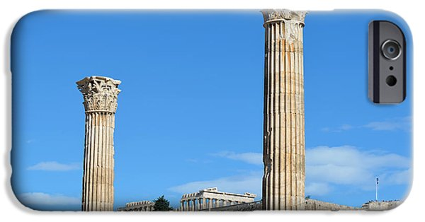 Zeus iPhone Cases - Temple of Olympian Zeus and Acropolis in Athens iPhone Case by George Atsametakis