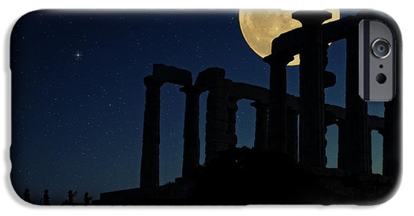 Sea Moon Full Moon Photographs iPhone Cases - Temple of Poseidon  iPhone Case by Emmanuel Panagiotakis
