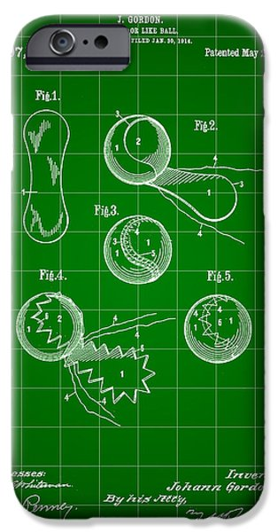 Wimbledon iPhone Cases - Tennis Ball Patent 1914 - Green iPhone Case by Stephen Younts