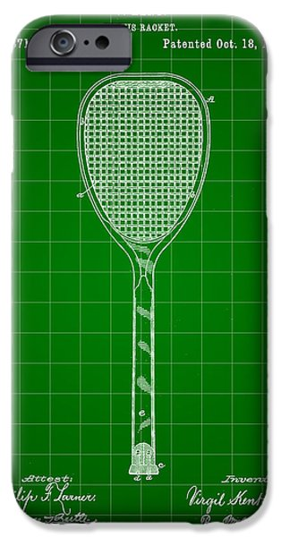 Federer iPhone Cases - Tennis Racket Patent 1887 - Green iPhone Case by Stephen Younts