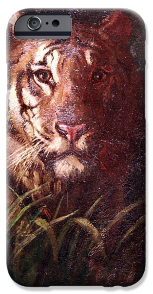 Cora Wandel iPhone Cases - Thayers Tigers Head iPhone Case by Cora Wandel