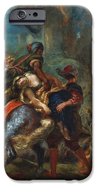 Delacroix iPhone Cases - The Abduction of Rebecca iPhone Case by Eugene Delacroix