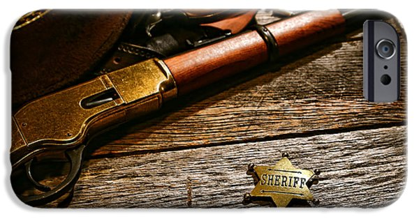 Sheriff iPhone Cases - The Badge iPhone Case by Olivier Le Queinec
