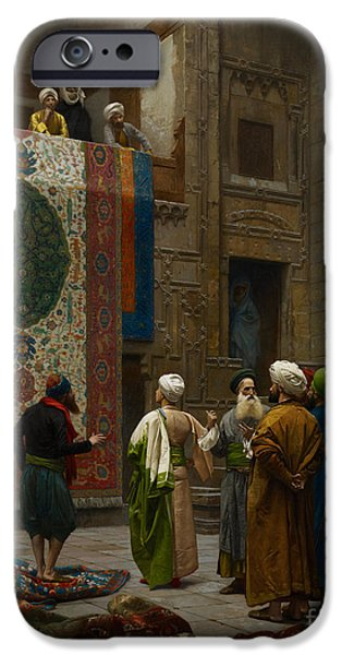 Gerome iPhone Cases - The Carpet Merchant iPhone Case by Celestial Images