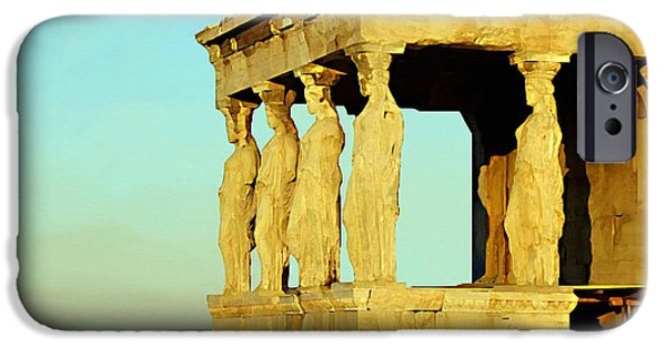 Remnants Paintings iPhone Cases - The Erechtheion iPhone Case by Ellen Henneke
