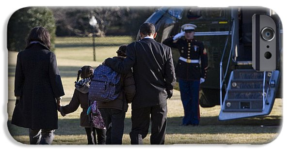 Michelle Obama Photographs iPhone Cases - The First Family iPhone Case by JP Tripp