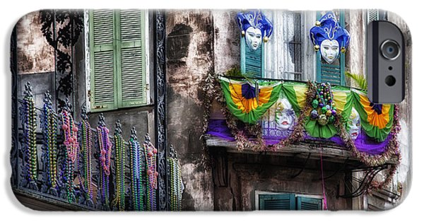Balcony Photographs iPhone Cases - The French Quarter during Mardi Gras iPhone Case by Mountain Dreams