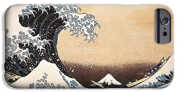 Storm Paintings iPhone Cases - The Great Wave of Kanagawa iPhone Case by Hokusai