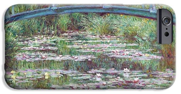 Contemplative Paintings iPhone Cases - The Japanese Footbridge iPhone Case by Claude Monet