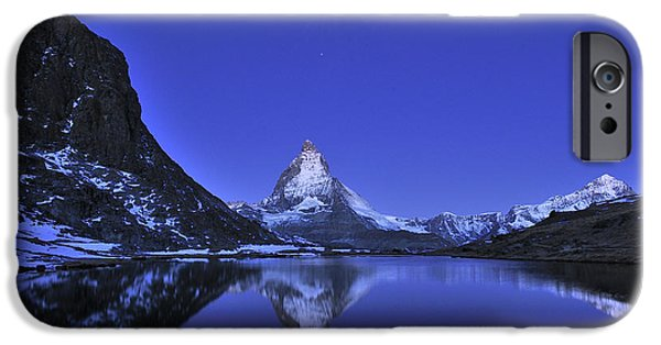 Mountains iPhone Cases - The Matterhorn And Riffelsee Lake iPhone Case by Thomas Marent