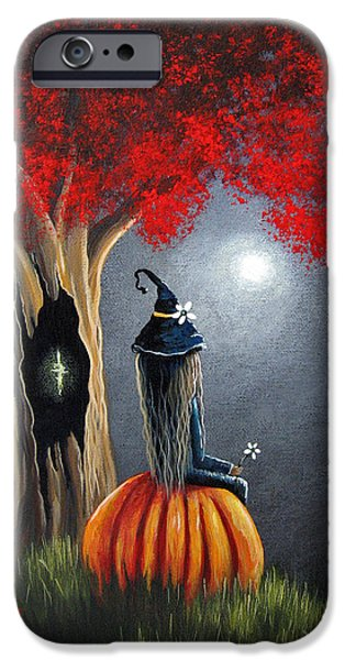 Witches iPhone Cases - Original Witch Art - The Midnight Hour iPhone Case by Shawna Erback