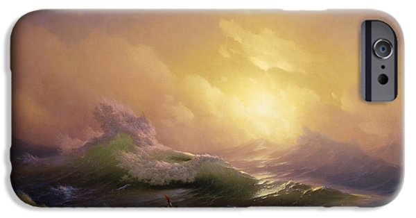 Vivid Drawings iPhone Cases - The Ninth Wave iPhone Case by  Ivan Aivazovsky