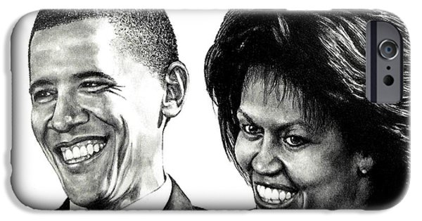 First Lady Drawings iPhone Cases - The Obamas iPhone Case by Todd Spaur