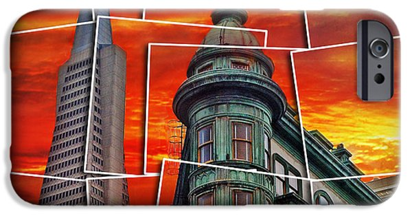 Francis Ford Coppola iPhone Cases - The Old and the New the Columbus Tower and the Transamerica Pyramid altered iPhone Case by Jim Fitzpatrick
