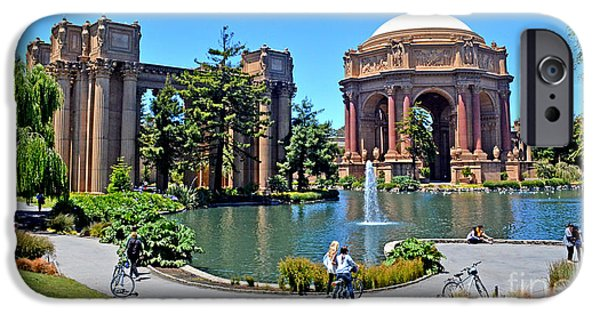 California Tourist Spots iPhone Cases - The Palace of Fine Arts in the Marina District of San Francisco iPhone Case by Jim Fitzpatrick