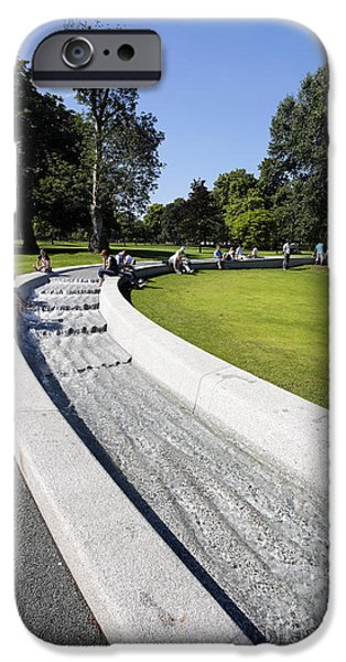 Princess Diana iPhone Cases - The Princess Diana Memorial Fountain in Hyde Park London England iPhone Case by Robert Preston