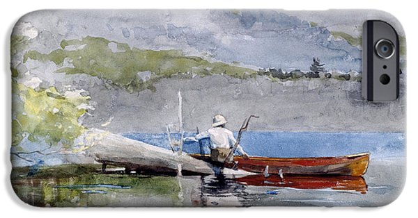 Canoe iPhone Cases - The Red Canoe iPhone Case by Winslow Homer