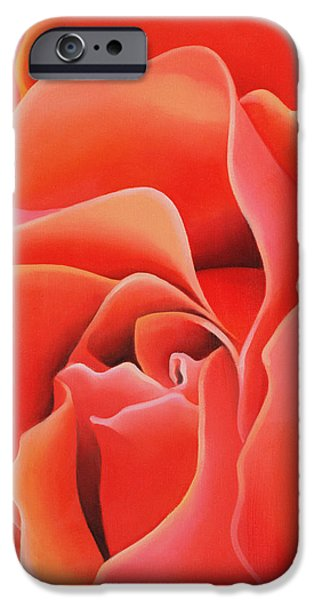 Red Abstract iPhone Cases - The Rose, 2003 Oil On Canvas iPhone Case by Myung-Bo Sim