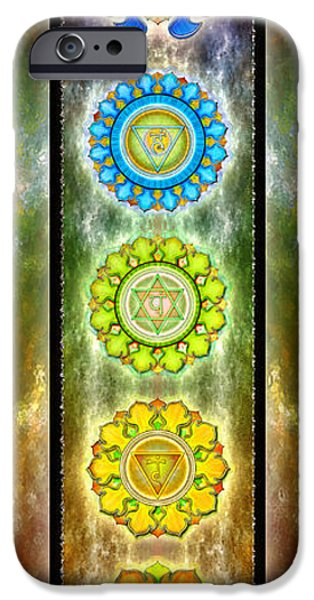 Mandalas iPhone Cases - The Seven Chakras Series 2012 iPhone Case by Dirk Czarnota