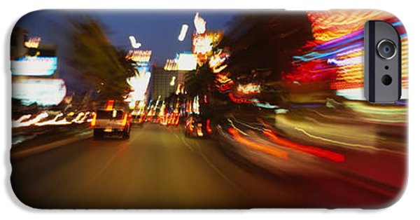 Interior Scene iPhone Cases - The Strip At Dusk, Las Vegas, Nevada iPhone Case by Panoramic Images