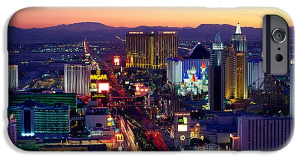 Metropolis iPhone Cases - The Strip, Las Vegas, Nevada, Usa iPhone Case by Panoramic Images