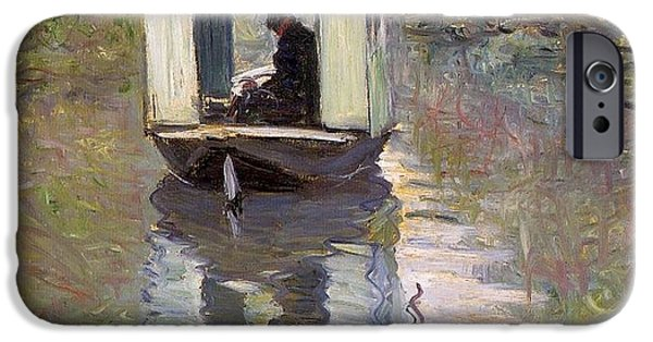 1876 Paintings iPhone Cases - The Studio Boat iPhone Case by Claude Monet