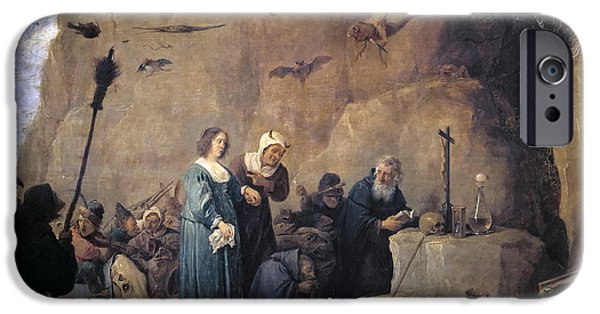 Young Paintings iPhone Cases - The Temptation of St. Anthony iPhone Case by David Teniers the Younger