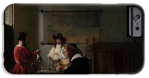Domestic Scene iPhone Cases - The Visit iPhone Case by Pieter de Hooch