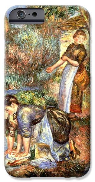 Little Girl Digital Art iPhone Cases - The Washerwoman iPhone Case by Pierre Auguste Renoir